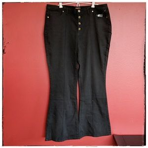 Modcloth Button fly, high rise, Wide Leg Jeans 1X